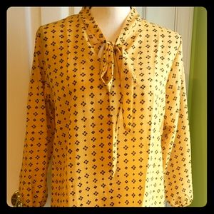 Women's Yellow  And Black Long Sleeve Blouse